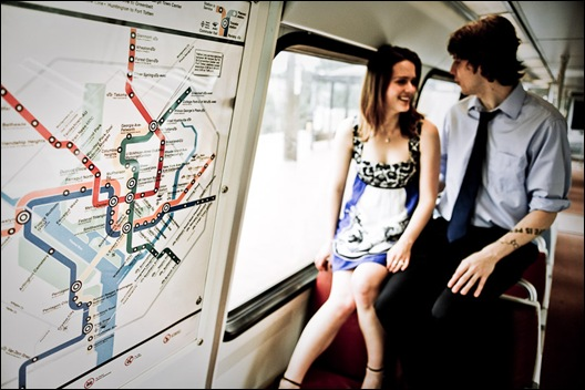 metro map with couple in the background