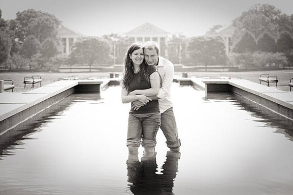 Couple wading in reflecting pool at UMD College Park
