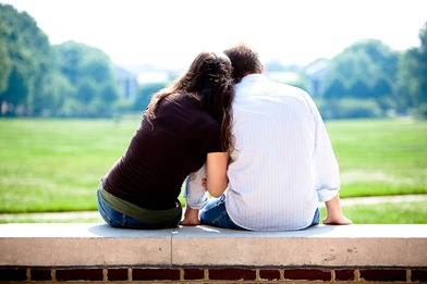 Couple looking out on campus at UMD college park