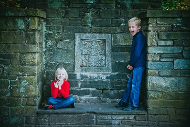 portrait of brother and sister at Glenview Mansion in Rockville, MD