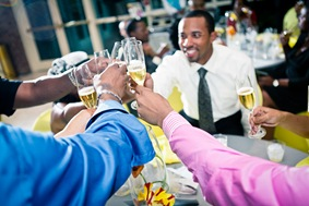 toasting  at the Newton White Mansion in Mitchellville MD