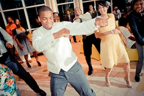 groom dancing during reception  at the Newton White Mansion in Mitchellville MD