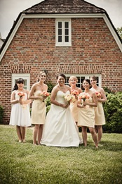 bride and bridesmaids  at Mt. Airy Mansion in Upper Marlboro Maryland