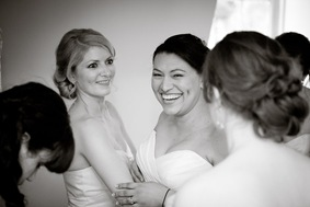 bride prepping with bridesmaids at Mt. Airy Mansion in Upper Marlboro Maryland
