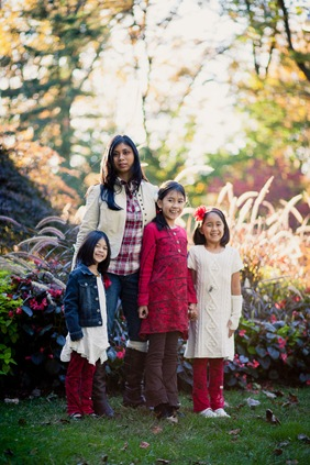 Family Christmas portraits at McCrillis Gardens in Bethesda MD