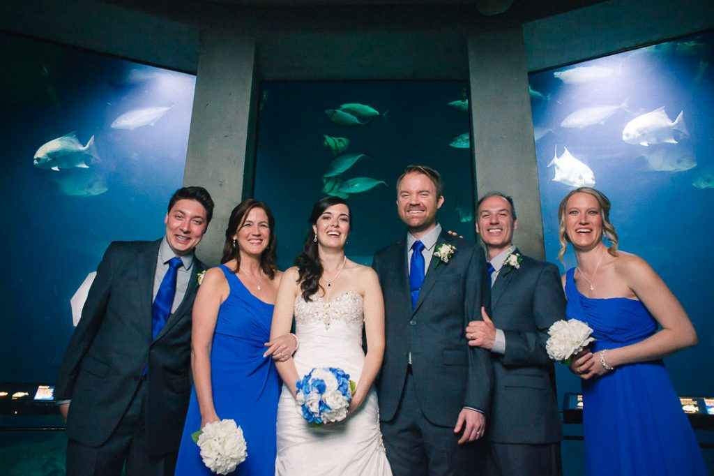 Wedding party at the Baltimore Aquarium