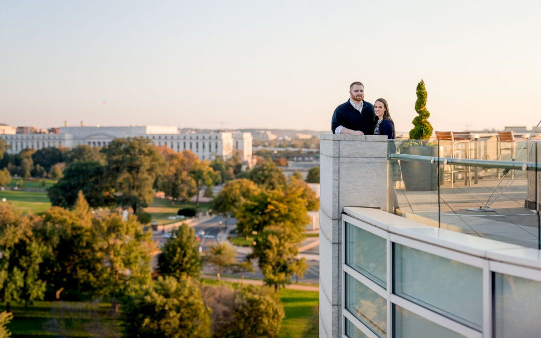 A Skyline View of the DC Capital From a Rooftop Engagement Session
